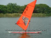 Windsurfing the Starboard Super 12-6 SUP at Lake Bung Taco in Bangkok Thailand